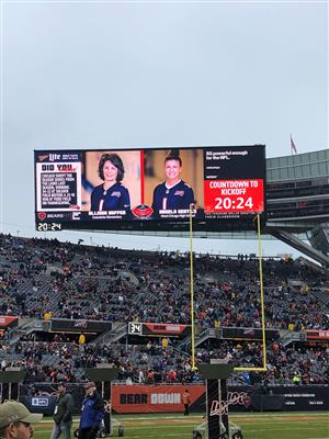 Angela Gentile on the megatron at the Chicago Bears game.