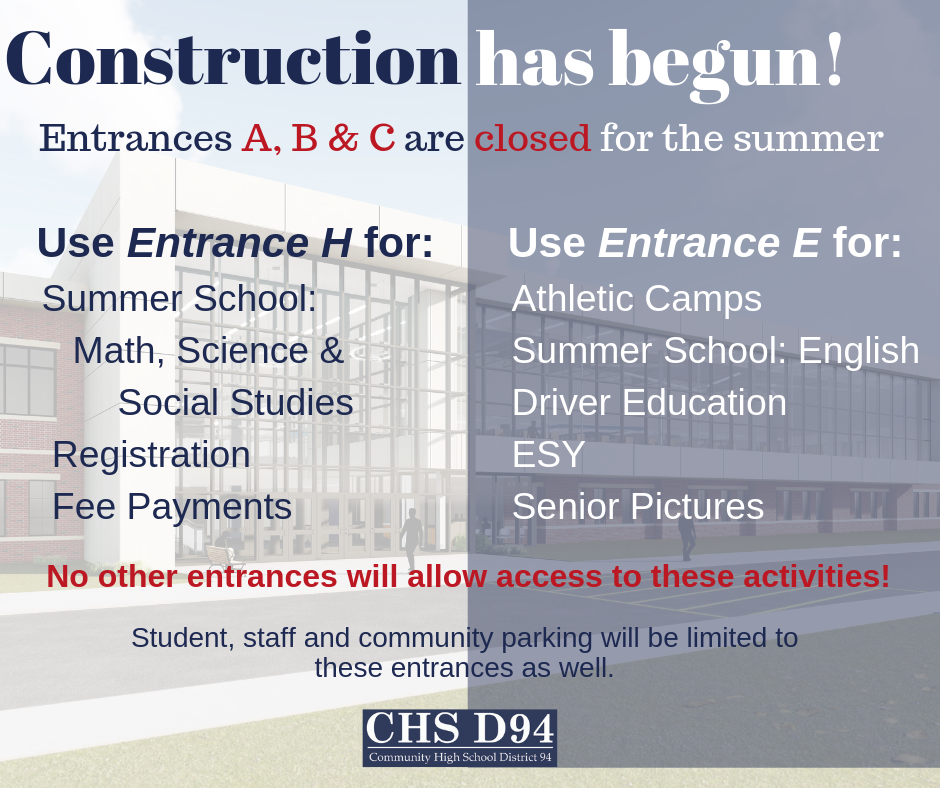 Reminder:  Entrances A, B and C Remain Closed for Construction