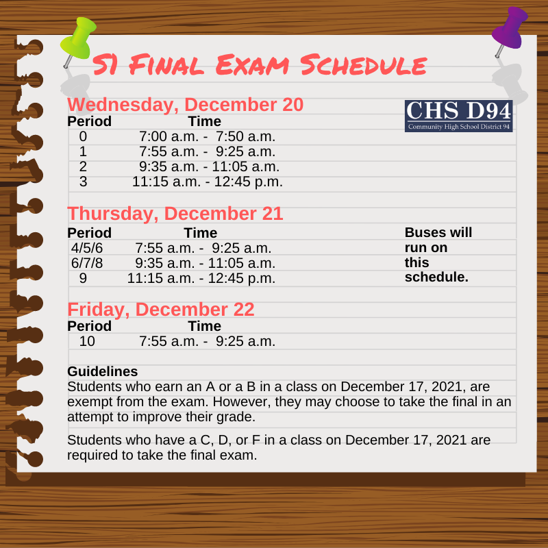 Final Exam Schedule Announced