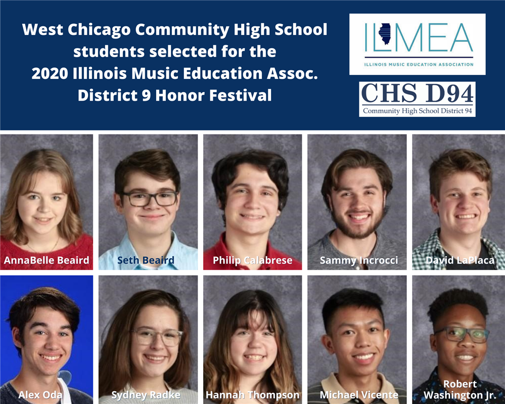 WCCHS students selected for the 2020 ILMEA District 9 Music Festival.