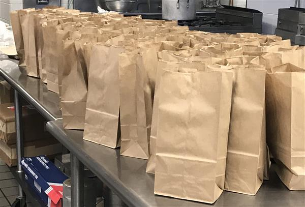 Lunches in bags ready for WCCHS students.