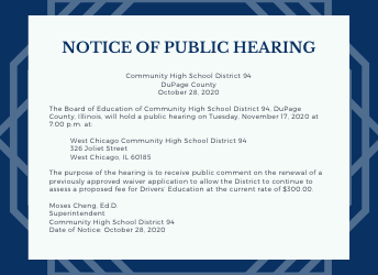 Notice of public hearing - Driver's Eduation Fees