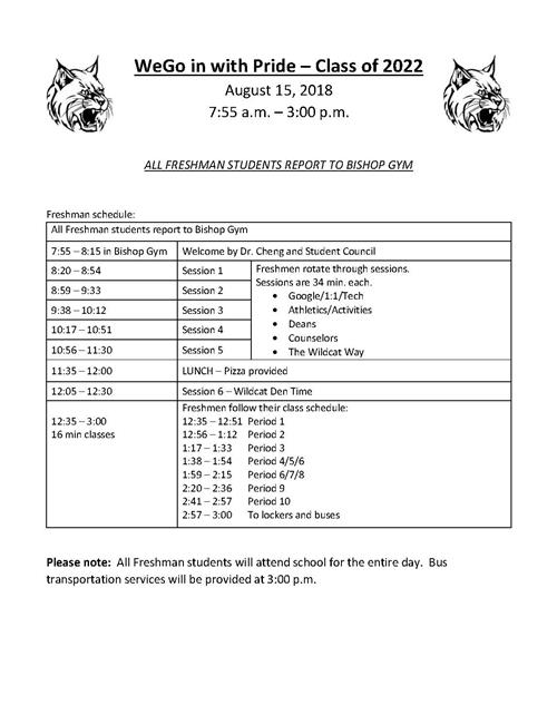 Freshman First Day Schedule