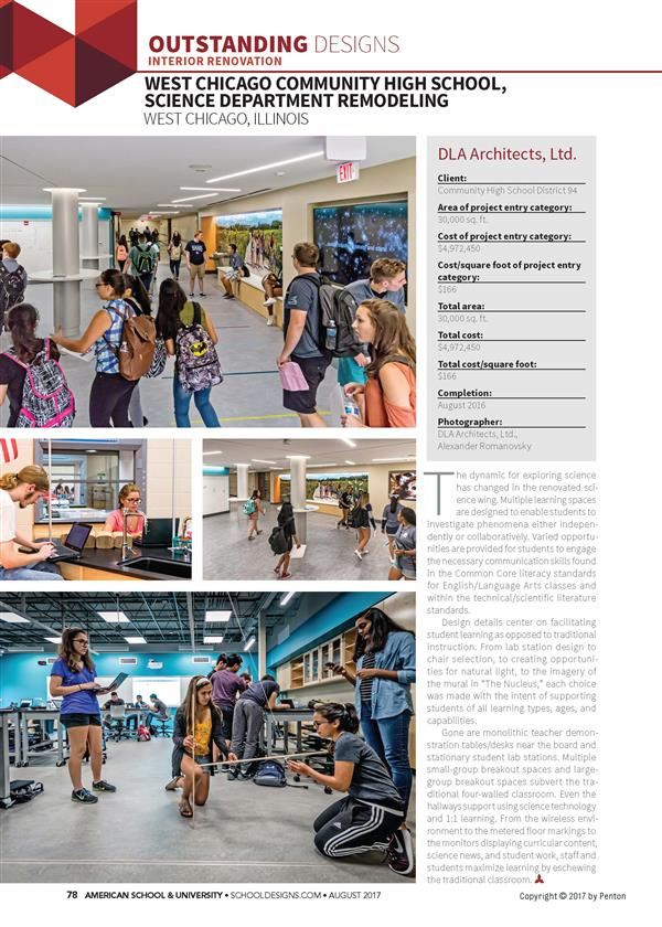 WCCHS Science Remodel Featured in American School & University Magazine